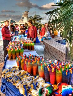Beautiful colorful party drinks on a cruise!