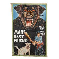 "Titled, ""Man's Best friend."" Ghana, West Africa. Painting on Flour Sack Canvas."