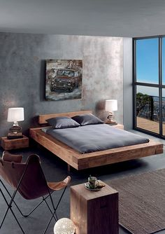 The impact of bedroom furniture will make you have a good night's sleep. Let's face it, and a modern bedroom furniture design can easily make it happen. Pallet Patio Furniture, Modern Bedroom Furniture, Wood Bedroom, Bed Furniture, Furniture Design, Bedroom Decor, Bedroom Ideas, Furniture Dolly, Gray Bedroom