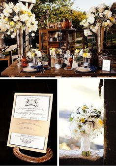 Ralph Lauren Inspired Style Shoot:  Yellow and cream peonies accented by blue thistles