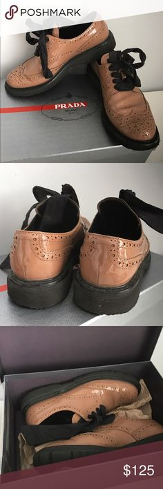 Prada loafers. Powder pink laced trendy Prada shoes. Prada Shoes Lace Up Boots