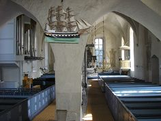 Inside the church of Sund, Åland, Finland. Grave Monuments, Baltic Sea, Open Water, Archipelago, Beautiful Islands, Cool Photos, Architecture, Europe, Graveyards