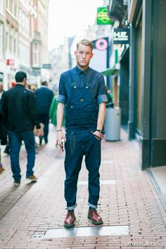 monochromatic lumbersexual in navy, chambray + chino overalls // menswear overalls style + fashion