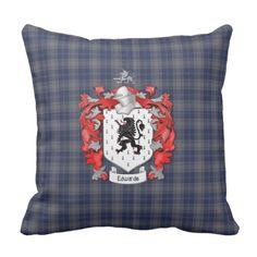 Thompson Family Crest and Tartan Plaid Throw Pillow