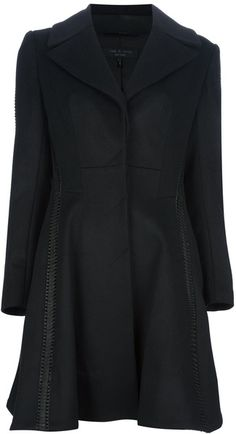Flared Woven Detail Coat - Lyst