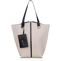 New Look Cream Contrast Trim Tote Bag (£20) ❤ liked on Polyvore featuring bags, handbags, tote bags, oatmeal, tote hand bags, pink tote purse, handbag purse, snap purse and man tote bag