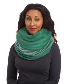 Mint & Forest Ombré Cashmere-Silk Blend Infinity Scarf by Blue Pacific Fashion #zulily #zulilyfinds