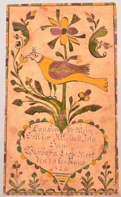 "Sold $1,400  Pennsylvania German Watercolor Drawing Fraktur Bookplate signed ""Jesus alone my heart shall own, Barbara Lieht, March the 4th, Anno 1826"". Script in a heart with Bird, floral and foliate motifs. Probably Lancaster or Lehigh County. Unframed, 5-3/8"" x 3-1/8"". Condition: Very good with some foxing and minor creases."