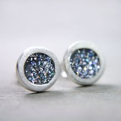 fine silver post earrings with iridescent silver by tinygalaxies