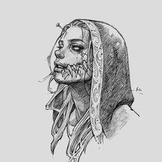 Creepy Drawings, Dark Art Drawings, Art Drawings Sketches, Tattoo Design Drawings, Horror Drawing, Horror Art, Dark Art Illustrations, Illustration Art, Dark Art Tattoo