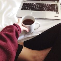 Winter, Bed, Tights, Sweaters, Coffee, Laptop