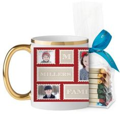 Love Family Stamps Mug, Gold Handle, with Ghirardelli Assorted Squares, 11 oz, Red