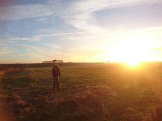 Q-100 DATAhawkAG #drone sunset launch.