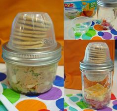empty Dole container and mason jar make the perfect pair for a snack carrier.An empty Dole container and mason jar make the perfect pair for a snack carrier. Mason Jar Lunch, Mason Jar Meals, Meals In A Jar, Mason Jar Diy, Pot Mason, Canning Jars, Camping Meals, Camping Hacks, Kids Meals