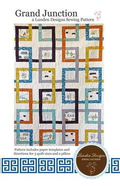 Grand Junction Interlocking Squares Quilt - Lunden Quilt Designs - Modern Quilting Pattern - Uses Camp Sur Fabrics from Birch Fabrics on Etsy, $12.75
