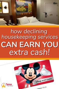 This is one of our favorite budgeting tips for your Disney vacation. Find out how to get a FREE Disney gift card by declining housekeeping during your stay at a Disney resort. Disney Vacation Club, Family Vacation Destinations, Disney Cruise Line, Disney Vacations, Disney Travel, Family Vacations, Cruise Vacation, Disney World Tips And Tricks, Disney Tips