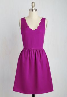 Your friends always count on your cheerful nature, and can't help but smile along with you when you sport this bright purple dress! Featuring subtly textured fabric and a scalloped neckline, this woven wonder is bound to bring a chipper mood to everyone around you.