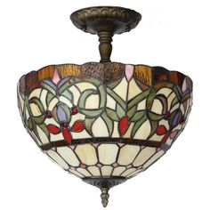 Amora Lighting Tiffany Style Ceiling Lamp (Tiffany Style Ceiling Lamp), Green (Art Glass)
