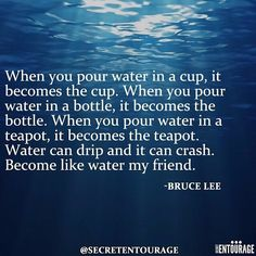 One of my favorite quotes of all time from the master Bruce Lee. This is paramount to being adaptable. When conditions change you need to be ready and willing to change with them so that you'll fit with every circumstance. Be like water. Link in bio if you need help with your personal development. #secretentourage #brucelee #motivation #success #quotes #inspiration