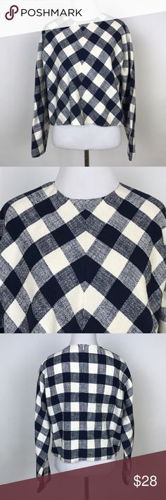 """[Zara] Buffalo Plaid Cropped Top Blouse Navy Cream Buffalo Plaid check top. Long dolman sleeves. Crew neck. Hidden back zip. Navy and Cream.   🔹Fabric: 88% Cotton 11% Linen 1% Elastane 🔹Pit To Pit: 24"""" 🔹Length: 19"""" 🔹Condition: Excellent pre-owned condition.  *O59 Zara Tops Blouses"""