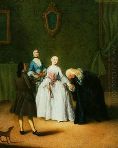 Oil painting reproduction: Pietro Longhi A Nobleman Kissing Lady S Hand 1746 - Artisoo.com