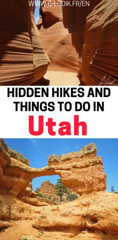 If you're planning a trip to Utah, you'll want to check out these hidden gems in Utah. You'll get to see spectacular views and rock formations without the crowds. Not only will you find yourself hiking through a hidden slot canyon, but you'll also get to see beautiful hoodoos and arches that many tourists completely skip over! Make sure you check out these off the beaten path hikes in Utah and save this to your travel board so you can find it later.