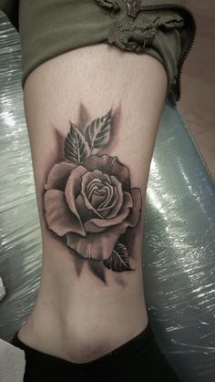 rose tattoo, black and white rose.