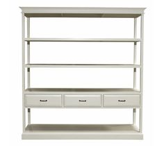 Exquisite Vintage Style Shelving Unit Design Inspiration in White Finish with Four Shelves Levels and Three Drawers with Antique Black Handles