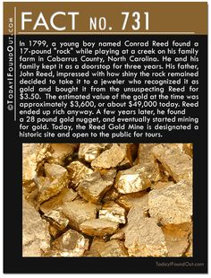 """In 1799, a young boy named Conrad Reed found a 17-pound """"rock"""" while playing at a creek on his family farm. He and his family kept it as a doorstop for three years. His father decided to take it to a jeweler who recognized it as gold and bought it for only $3.50. The estimated value of the gold at the time was approximately $3,600, or about $49,000 today. Reed ended up rich anyway. A few years later, he found a 28 pound gold nugget, and eventually started mining for gold."""