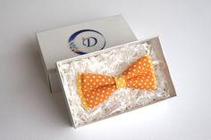 Orange Bow tie Polka Dot Bow tie Orange Cotton Bow Tie Kids
