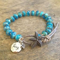 Summer Love, Starfish Knotted Leather Wrap Bracelet, Beach Chic
