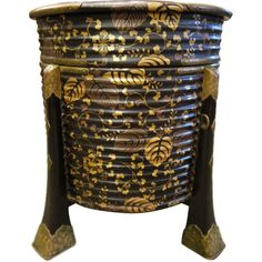 Large Round Japanese Lacquer Box