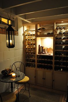 DIY wine cellar - repurpose laundry cabinets on the bottom, put on brick chucks to keep them dry, then add wine rack on top.  also need to clean up ceiling and pin down loose wires.  could install plug-in fixture.  stain floor?  paint walls.  glass block windows?