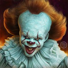 my caricature painting of Bill Skarsgard as Pennywise the Clown from the new IT move Clown Halloween, Gruseliger Clown, Clown Horror, Creepy Clown, Arte Horror, Horror Art, Scary Movies, Horror Movies, Patrick Brown