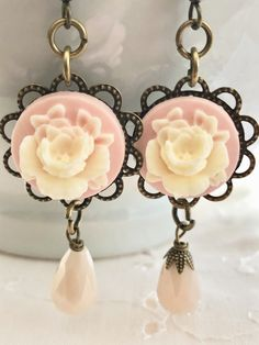 Pink Ivory Lucite Resin Rose Glass Crystal Bead Dangle Bronze Earrings Doodaba Wedding Bride