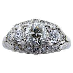 GRANAT  Art Deco Diamond Three Stone Diamond Ring- This is perfect