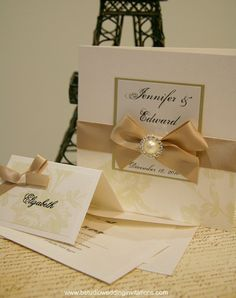 Charmed by Love Cream Wedding Invitations - Handmade Wedding Invitations and Matching Stationery ©