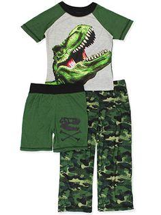 Ames Boys Jurassic World Dinosaur Pajamas Shorts Shirt 2 Pc Cotton Little Kid Green