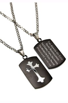 """Black Shield Cross Necklace Armor of God with 20"""" Upgrade Chain"""