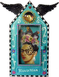 mexican tin niche - with kahlo inspired self portrait