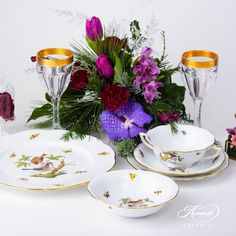 Place Setting Five Piece- Herend Rothschild Bird ROdesign. Herend fine china Dinner Sets, Place Settings, Dinner Plates, Fine China, Wedding Gifts, Porcelain, Bird, Places, Pattern