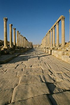 Cardo (one of two main streets crossing at a right angle at the center of a Roman city) of Jerash, Jordan http://exploretraveler.com http://exploretraveler.net