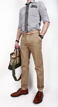 Gray chambray shirt and tie with tan chinos