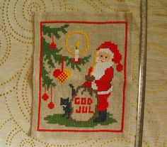 vintage hand-embroidered Christmas tapestry wall hanging Swedish God Jul | eBay