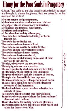 Litany of the poor souls in Purgatory