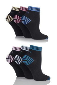 Ladies 6 Pair Elle Non Cushioned Sports Socks With Contrast Heel and Toe
