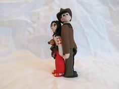 Indiana Jones Hand Sculpted Custom Wedding Cake Topper, Polymer Clay, Marion, Monkey on Etsy, $150.00