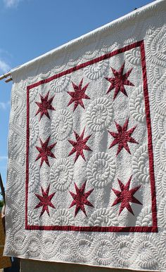 red and white quilt - beautiful quilting! I wish I had this kind of talent!