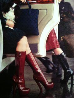 71affae80d4 I die for Louis Vuitton Winter 2011 rubber dominatrix boots…
