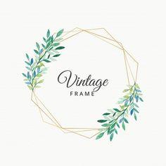 Acuarela deja marco vintage con borde dorado
